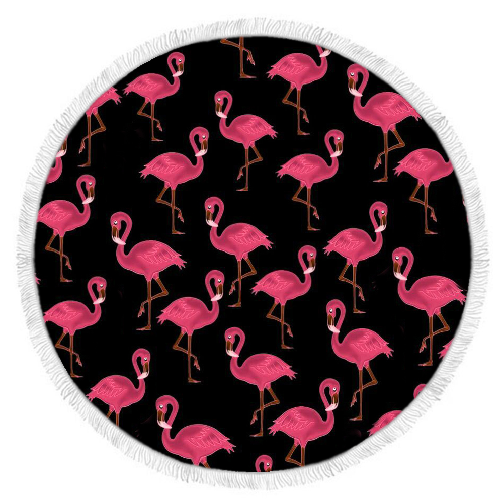 ★  Круглое пляжное полотенце с кисточкой Розовый фламинго из пальмовых листьев Цветок из микрофибры Пол ①