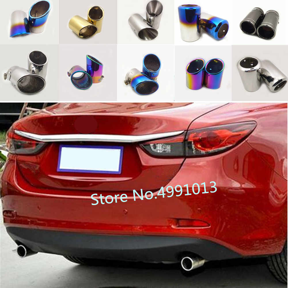 for mazda 6 atenza sedan 2014 2015 2016 2017 2018 2019 car protect cover muffler pipe outlet dedicate exhaust tip tail 2pcs