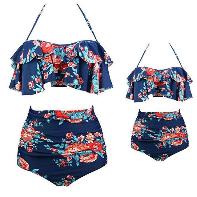 1eae87cb5b8 Family Floral Bikini Set Summer Mother Daughter High Waist Swimwear Women  Swimsuit Children Kids Girls Swim Wear Bathing Suit