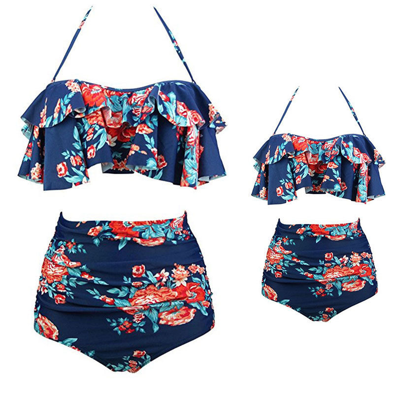 NEW Baby Girls Blue Floral Heart Swimming Costume Swimsuit Age 18-24 Months A11
