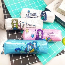 Holographic Laser Pencil Case Unicorn Mermaid Pencil Cases for Boy Girl Student PU Pencil Box Bag School Supply Stationery Gifts
