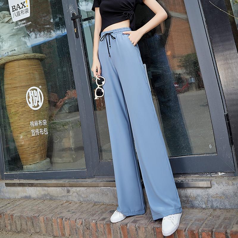 High Waist Chiffon   Wide     Leg     Pants   Women Summer Thin Elastic Waist Lace Up Long   Pants   Woman Streetwear Harajuku Pantalones Mujer
