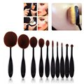 10 pcs/set Oval Toothbrush Foundation Makeup Brush Face Powder Blusher Makeup Tool