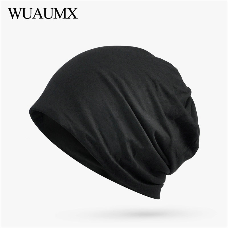 Wuaumx Spring Summer   Beanies   Hats For Women Men Lining With Modal Turban Hats Solid Hip Hop   Skullies     Beanies   Night Cap Unisex