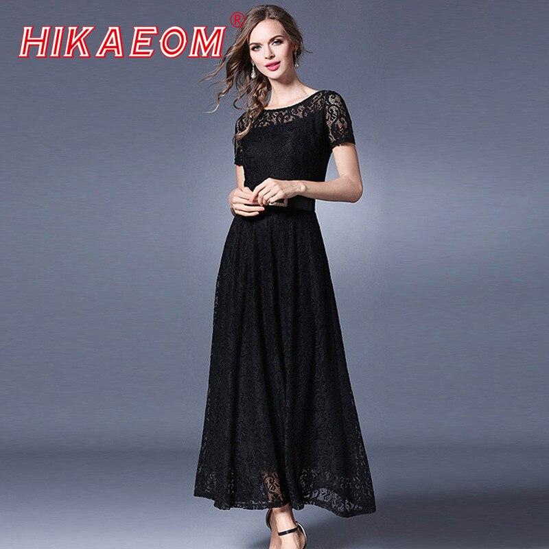 Summer elegant Fashion Lady Short Sleeve Pleated Long Dress Vestidos mujer Women Black White Chiffon Lace