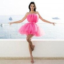 Doce Rosa Mini Puffy Ball Vestido Prom Vestido Formal Strapless Acima Do Joelho do Regresso A Casa Vestidos de Festa Zipper up Sem Costas vestido curto