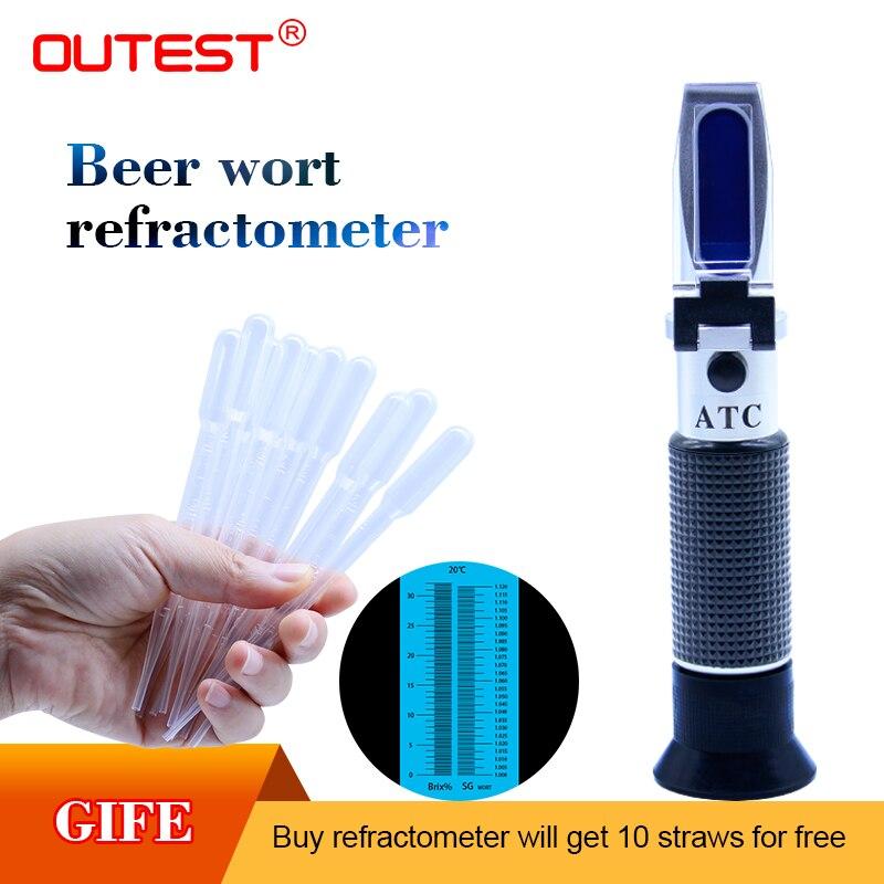 Numérique Réfractomètre Bière Brix Moût Alcool de Sucre 0 ~ 32% RZ129 Moût densimètre Vin testeur malt 1.0 ~ 1.13, sucre 0 ~ 32%
