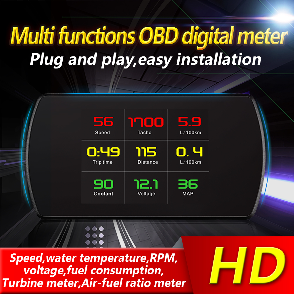 OBD2 HUD Head Up Display Car Speed Water Temperature Speedometer Display  Projector OBDSPACE P12 Digital On-Board Computer