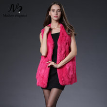 Winter Autumn Rabbit Fur Long Vest Quality Fashion Real Fur Coats for Women Brand Female Natural Fur Vest Out Wear Waistcoats