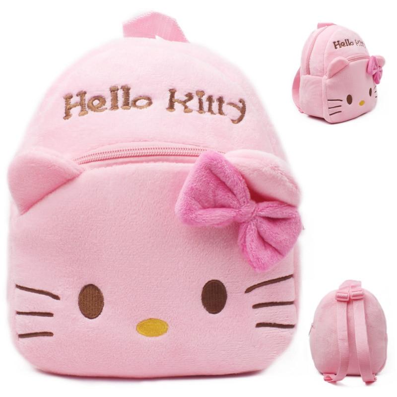 Lovely cartoon Soft kitty plush backpacks baby Student bag Cute children backpacks toys Pink Plush bag for 0-3years kids