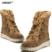 AREQW 2017 Autumn And Winter New Snow Boots Woman Warm Lace Up Anti Skid Medium Tube