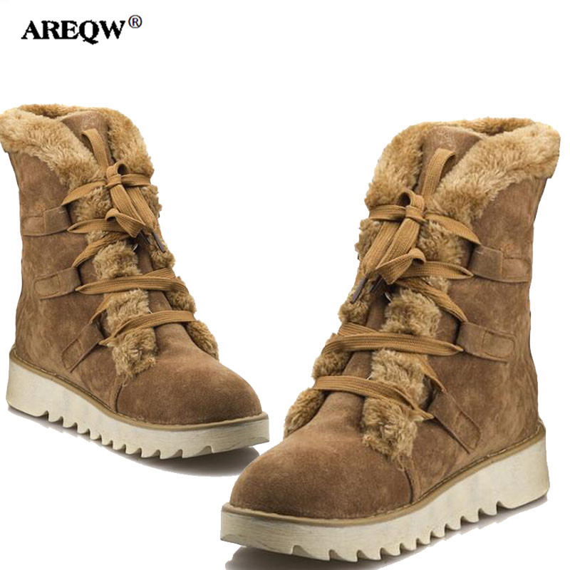 AREQW 2017 Autumn and Winter new snow boots woman warm lace up anti-skid medium tube boots large size casual flat shoes woman beyarne new autumn and winter women snow boots front strap flat heel medium leg student boots plus size 34 43 free shipping