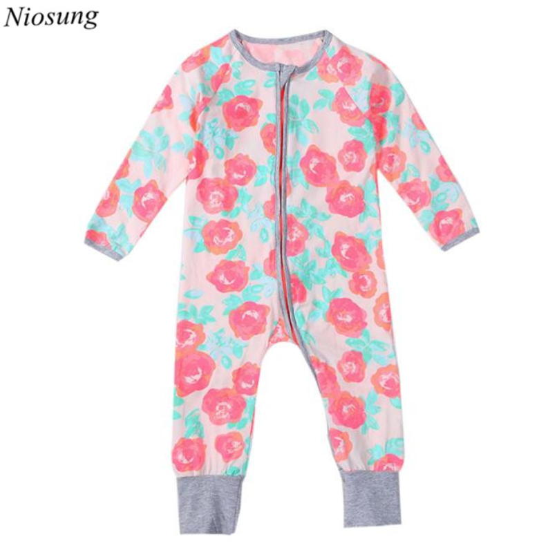 2017 New Newborn Infant Baby Boys Girls Zipper Print Long Sleeve Romper Jumpsuit Clothes Outfits Kids Bebe Clothing v