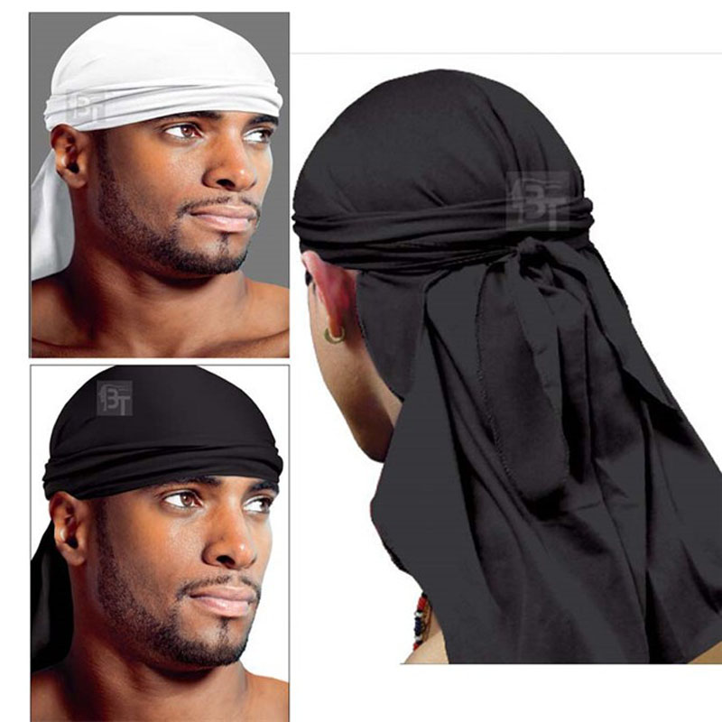 Hot Sale New Fashion  Elegant Spandex King's Durag Biker Head Wrap Skullcap Bandanna Doo Rag For Men(China)