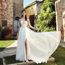 Julia Kui Vintage Scalloped Neckline White Color A-Line Wedding Dress With Side Cut On Tulle Skirt vestido de novia