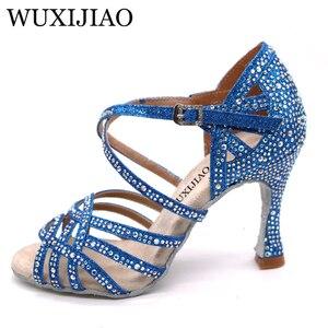 Image 5 - WUXIJIAO シルバーブルーラインストーンラテンダンスシューズ女性サラス社交靴パールハイヒール 9 センチメートルワルツソフトウェア靴ホット販売