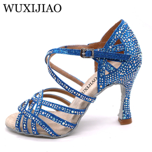 Image 5 - WUXIJIAO Silver Blue Rhinestone Latin Dance Shoes Women Salas Ballroom Shoes Pearl High Heel 9cm Waltz Software Shoes Hot Sale