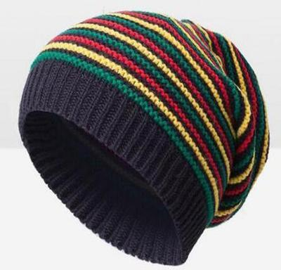 ebde344cf5d Pom Pom Winter Hip Hop Hat Bob Marley Jamaican Rasta Reggae Multi-colour  Striped Beanie