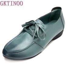 Ручной работы женская обувь натуральная кожа плоским шнуровкой обувь для мам женские лоферы мягкие один повседневная обувь Женские туфли-лодочки