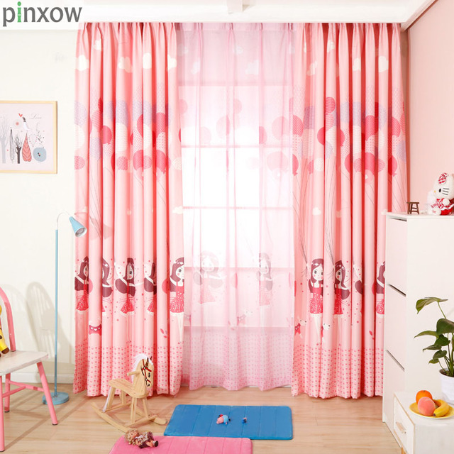 Pinxow Cartoon Children Bedroom Window Curtains For Princess Room Pink Nursery Home Panel Baby Kid