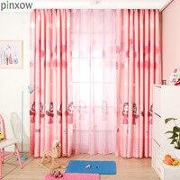 Children Window Curtains Pink Girls Bedroom Curtain Fabrics Princess Drapes Kids Room Printing Panels Balloon Window