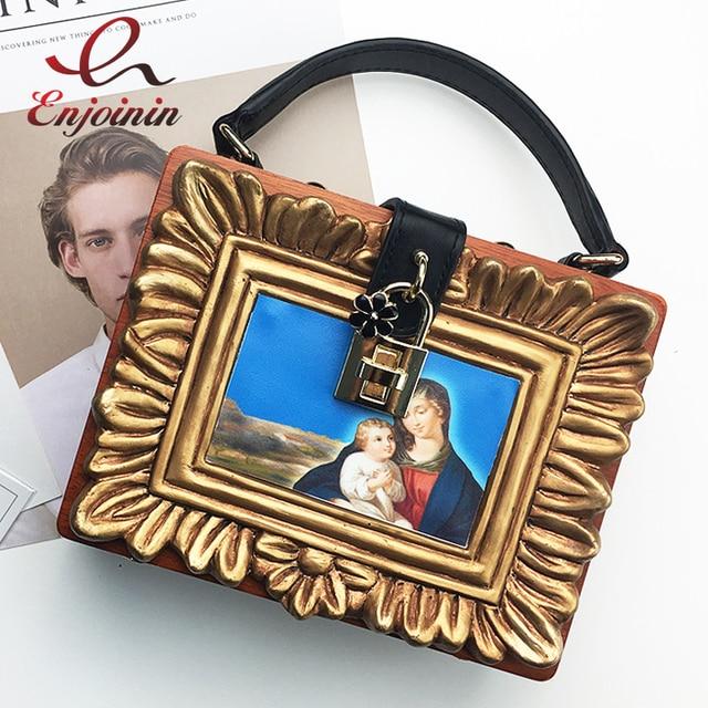 Европейской живописи монахини шаблон деревянный ящик форма цветка замок Женский коричневый сумки на ремне сумки Crossbody сумка
