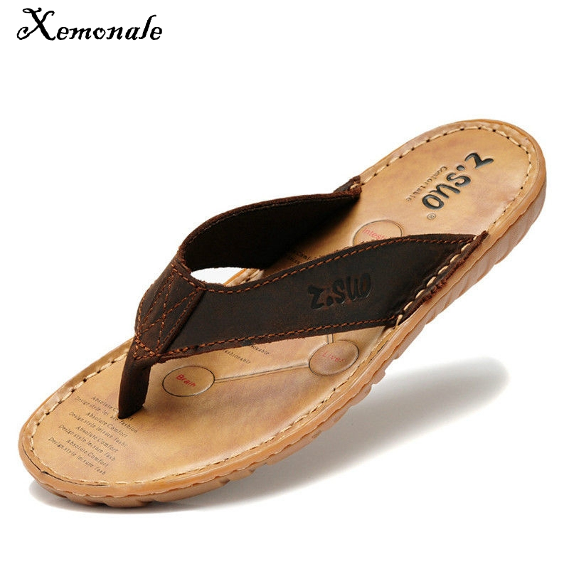 Xemonale Women Flip Flops Genuine Leather Slippers Summer Fashion Beach Sandals Shoes for Plus Size Eur 38-47 Pantufa Hot Sell 2016 genuine leather sandal shoes brand designer beach flip flops slippers male flat sandals for men 38 44 size