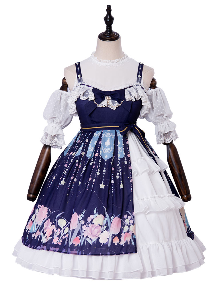 Classic  Lolita Jumper Skirts  Blue Straps Ruffled Sleeveless Lolita JSK Dress with Bow and Lace