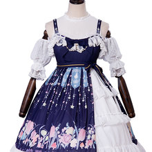 f1f43d81a5 Classic Jumper Skirts Blue Straps Ruffled Sleeveless Lolita JSK Dress with  Bow Lace