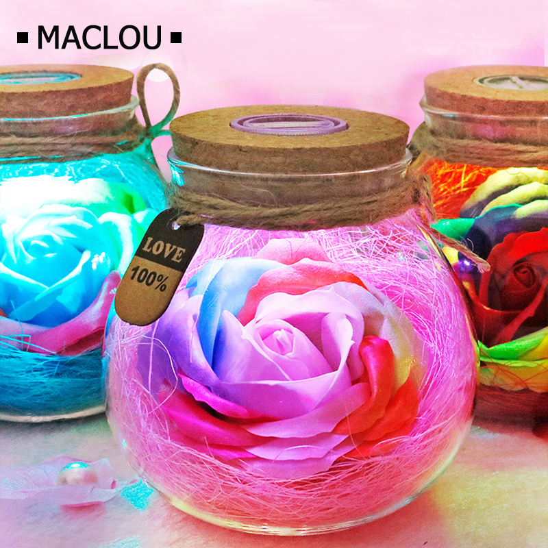 LED Colorful Flower Night Light RGB Creative Romantic Bottle Immortalized Rose Gift Valentine's Day Christmas Holiday Lighting