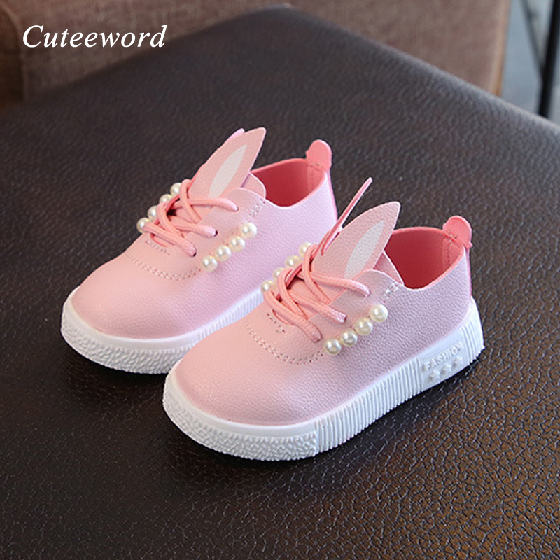 2019 Fashion brand girls shoes children's pearl princess shoes spring autumn kids school sneakers leather casual sports shoes