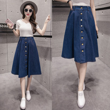 2018 New Arrival Summer Pleated Denim Skirt Girls Cute Blue Jean Skirts Womens High Waist Button A -Line Casual Solid Skirts shein girls black solid button up belted casual girls skirts kids clothing 2019 spring fashion a line preppy long flared skirts