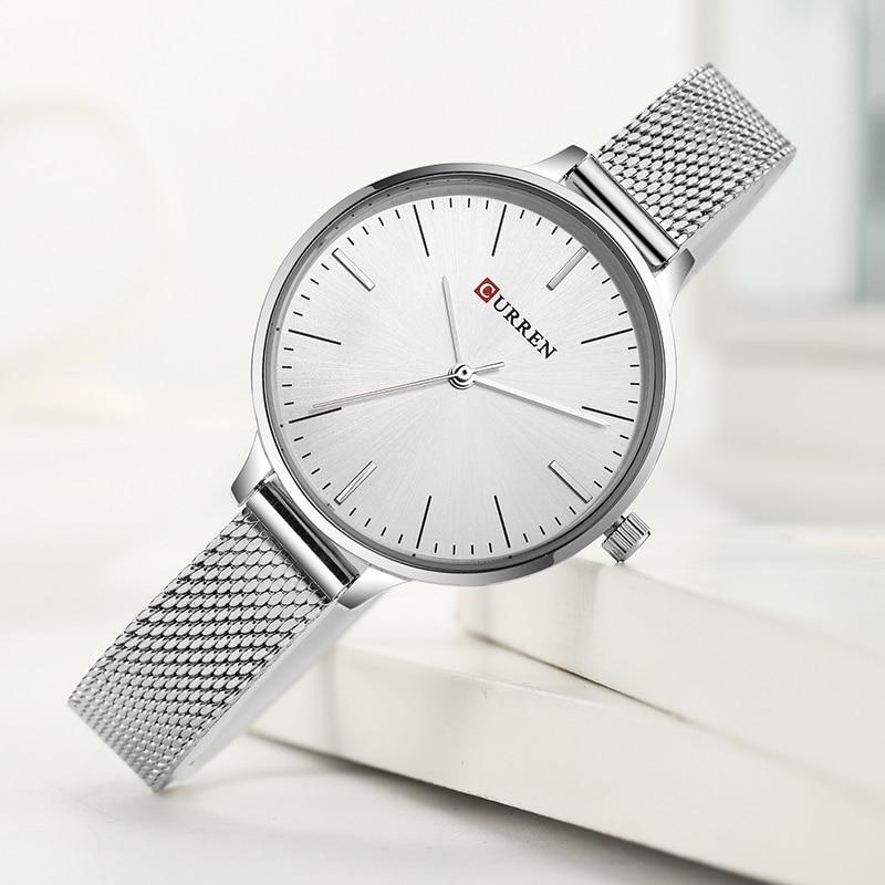 CURREN Top Luxury Brand Women Quartz Watch Ladies Simple Dress Wristwatches Relogio Feminino
