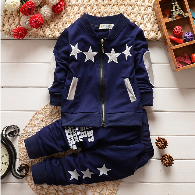Clothing Sets new fashion baby boys/girls christmas tracksuit set long sleeve kids outfits suits Zip cardigan star sports suit