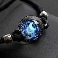 BOEYCJR уникальный Опал Камень Вселенная стекло шарик планеты луна браслет галактика Веревка Цепь солнечная система браслет для женщин
