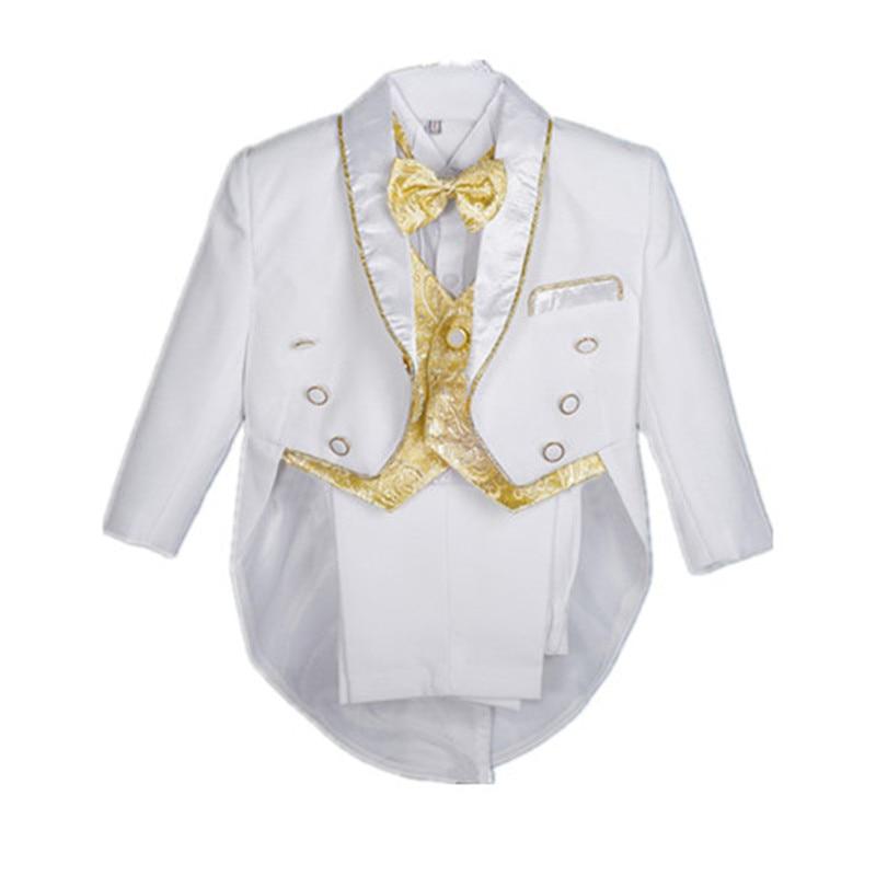 BBWOWLIN Baby Boy Clothes Swallowtail Tuxedo Suit White Black 5pcs for 1-4T Children Boy Birthday Party Christmas Dress 90101 sunveno white 4t