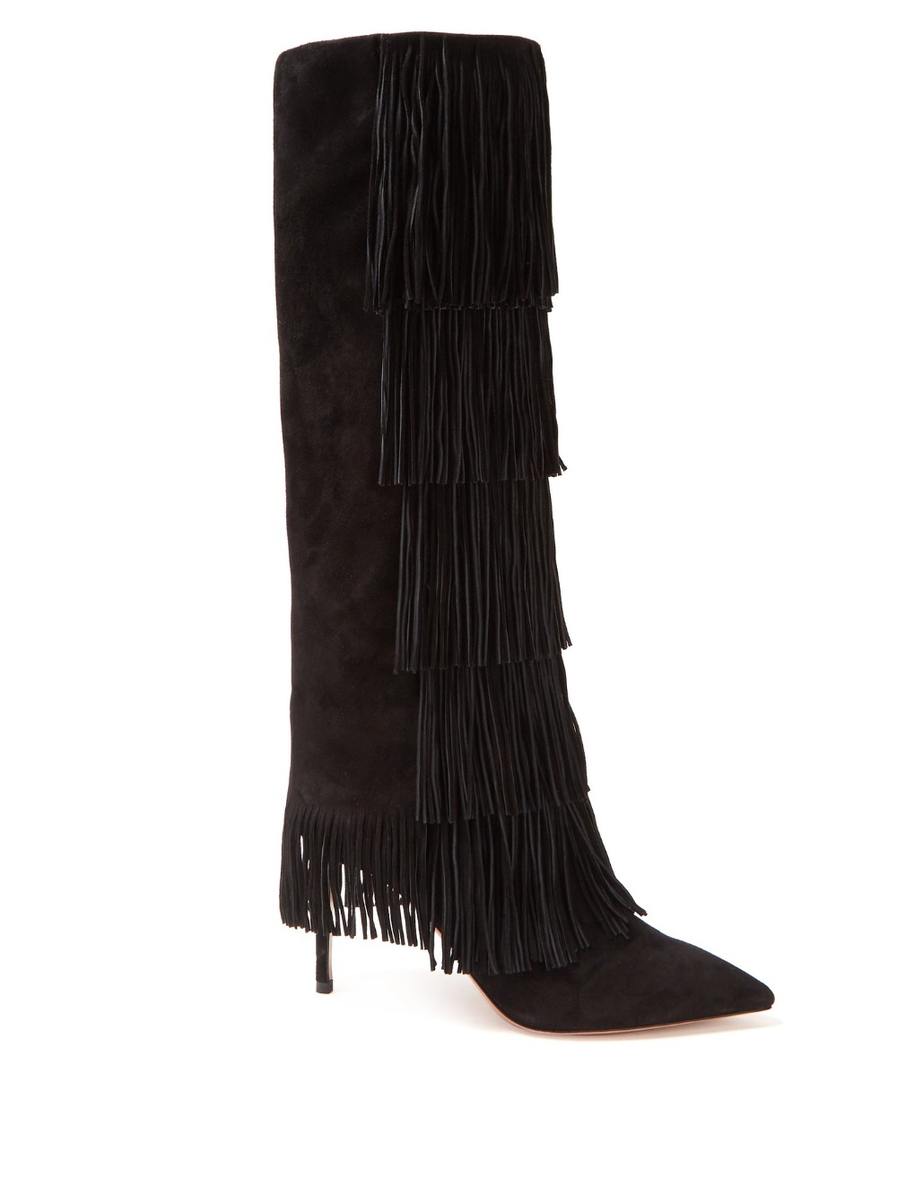 Черные сапоги с бахромой из флока, женские весенние высокие сапоги, высокие сапоги с острым носком, женские сапоги до колена на высоком кабл