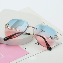 Rimless Sunglasses Women Brand Designer Sun Glasses Gradient Shades Cutting Lens Ladie Frameless Eyeglasses vintage luxury UV400