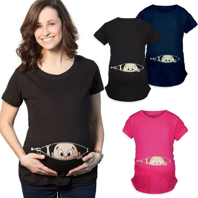 2019 New Summer Plus Size M-2XL Pregnancy Cartoon Tee Baby Print Staring Women Maternity Pregnant Short Sleeve T-shirt Funny Top