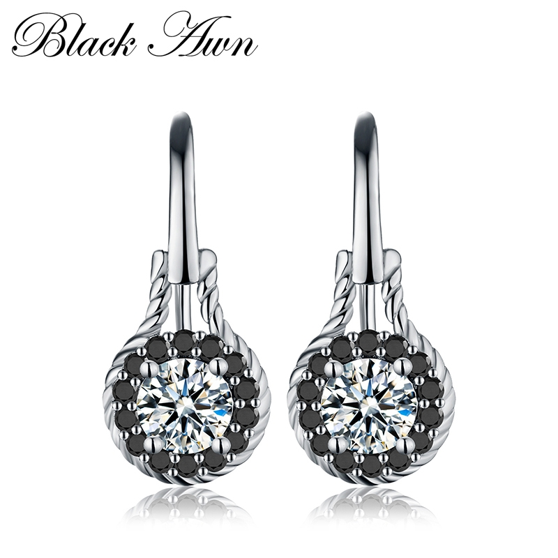 Trendy 2.6g 925 Sterling Silver Earring Black Spinel Anniversary Flower Drop Earrings for Women Fine Jewelry T092