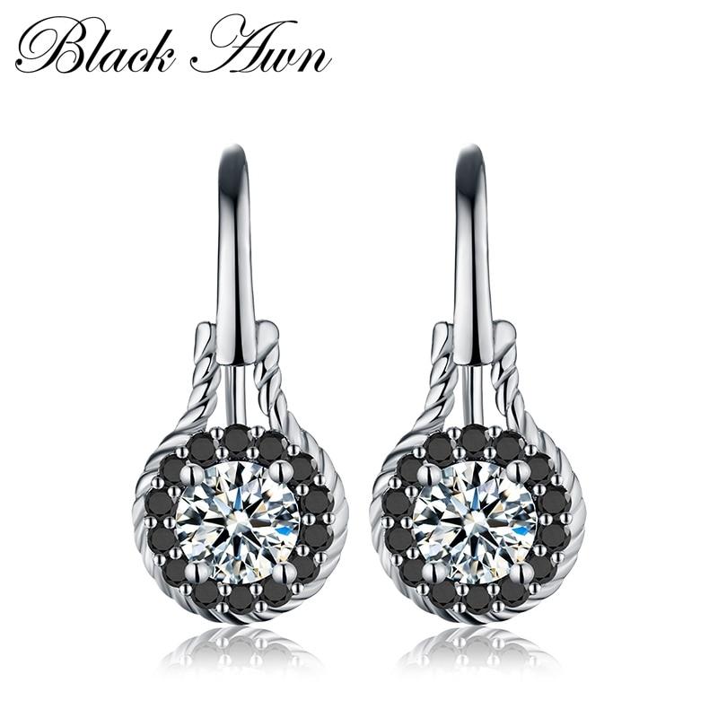 Trendy 2.6g 925 Sterling Silver Earring Black Spinel Anniversary Flower Drop Earrings For Women Fine Jewelry T092