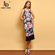 LD LINDA DELLA Fashion Summer Dress Womens Sexy Spaghetti Strap Backless Floral Printed Elegant Vintage Slim Vacation Dresses