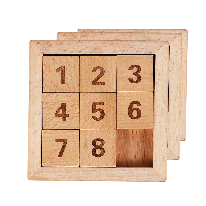Eight Sliding Tiles IQ Game Toys 8 Puzzle Math Wooden Brain Teaser Puzzle Numbers 1-8 Number Baffling Game For Adults & Children