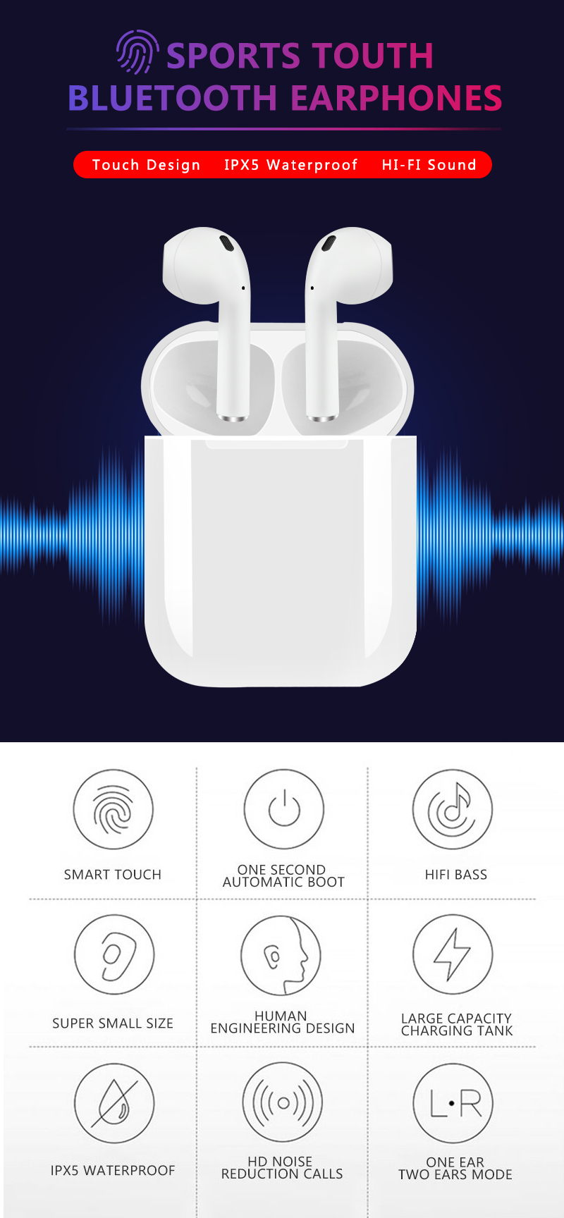 Bluetooth 5 0 i12 TWS Earphone Touch control Mini 1:1 Sports True Wireless  Earphones Magnetic Charging Box