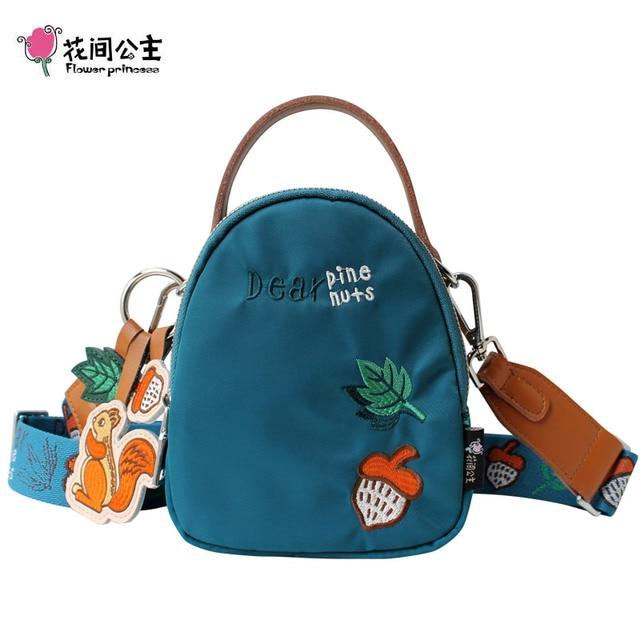 Flower Princess Original Embroidery Women Handbags Cartoon Squirrel Female Shoulder Bags Wide Strap Lady Mini Crossbody Bags
