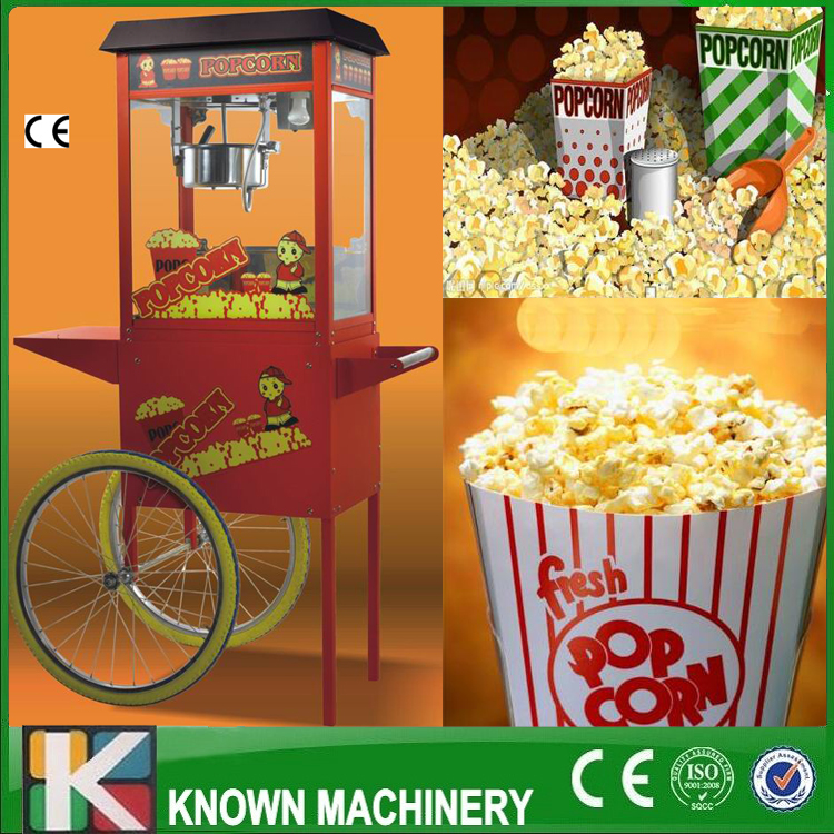 The best selling KN-900 popcorn machine with cart with free shipping pop 06 economic popcorn maker commercial popcorn machine with cart