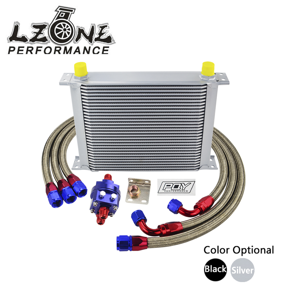 LZONE - UNIVERSAL 30 ROWS AN10 OIL COOLER KIT +OIL FILTER ADAPTER + NYLON STAINLESS STEEL BRAIDED HOSE WITH PQY STICKER+BOX vr universal 10 rows trust type oil cooler oil filter adapter nylon stainless steel braided an10 hose w pqy sticker box