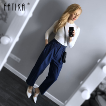 FATIKA ハイウエストパンツの長パンツエレガントな女性高品質ポケットズボン新女性の服
