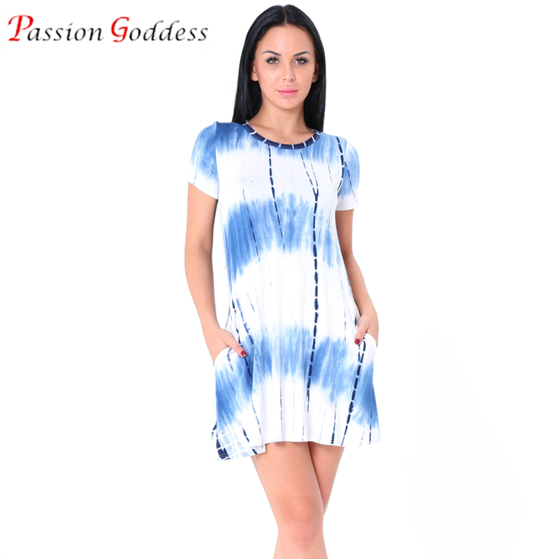 US $11.88 13% OFF|New 2017 Plus Size Women Summer Casual Tie Dye Dress  Short Sleeve Pocket Loose Short Above Knee A line Dresses Female Dress-in  ...