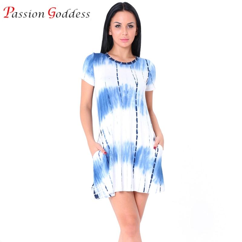 New 2017 Plus Size Women Summer Casual Tie Dye Dress Short Sleeve